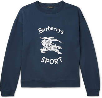 Burberry Flocked Fleece-Back Cotton-Blend Jersey Sweatshirt