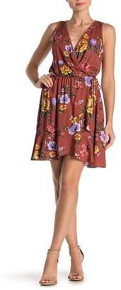 Lush Sleeveless Side Tie Floral Print Wrap Dress