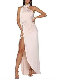 Elle Zeitoune William Satin High Neck Gown Features Sash Overlay