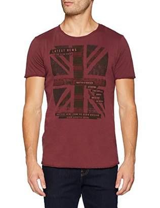 Tom Tailor Men's T-Shirt Mit Englandfahnen Druck (Tawny Port Red 10574)