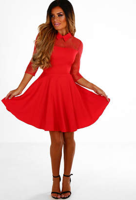 Pink Boutique Lace Of Your Life Red Lace Sleeve Collared Skater Dress