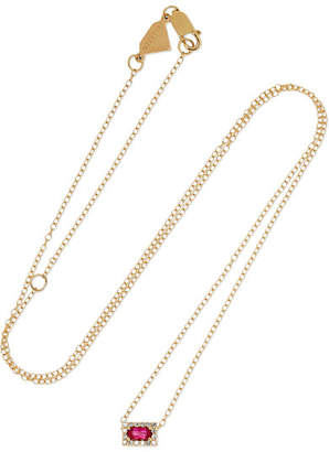Alison Lou 14-karat Gold, Ruby And Diamond Necklace