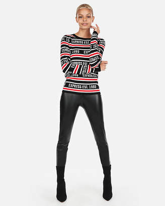 Express All-Over Logo Fitted Crew Neck Sweater