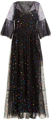 STAUD Townhouse Tulle Maxi Dress - Womens - Black Multi