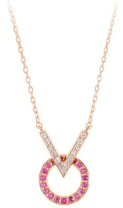 Sabine Getty Baby Memphis V Round Diamond & Pink Sapphire Necklace