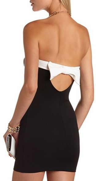 Charlotte Russe Bow-Back Color Block Tube Dress
