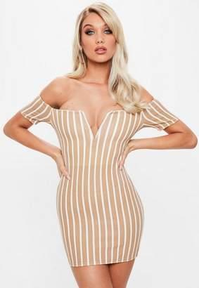 Missguided Camel V Bar Stripe Bardot Dress