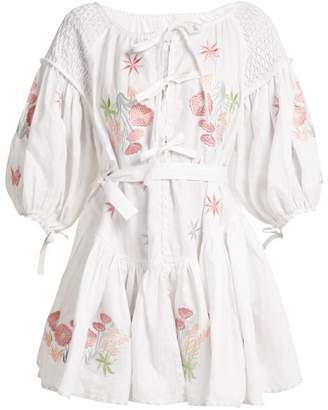 Innika Choo - Balloon Sleeve Linen Peasant Dress - Womens - White Multi