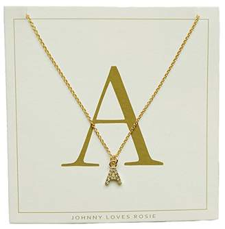 6e5505acf1f03f ... Johnny Loves Rosie Women Gold Plated Glass Chain Necklace of Length  48cm A Initial Gift Card
