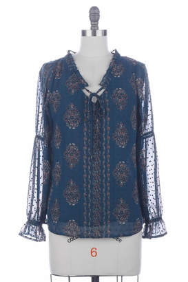 Skies Are Blue Floral Swiss-Dot Blouse