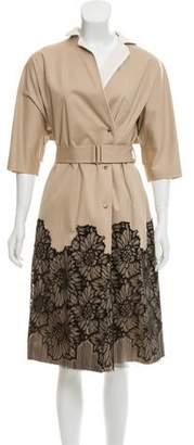 Lela Rose Lace Trim Trench Coat