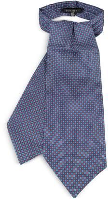 Forzieri Two Tone Mini Squares Geometric Print Silk Tie Ascot