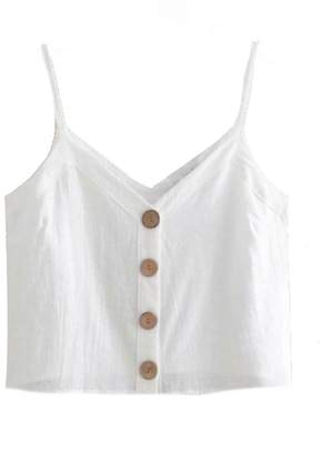 Goodnight Macaroon 'Libbie' Button Front Linen Cropped Cami Top (2 Colors)