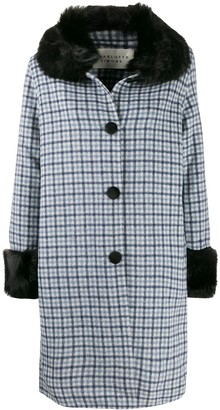 CHARLOTTE SIMONE faux fur trim check coat