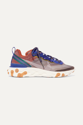 Nike React Element 87 Ripstop, Leather And Suede Sneakers - Gray