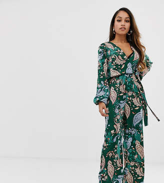c47f2213d1c Missguided Petite exclusive petite satin wide leg jumpsuit in green paisley