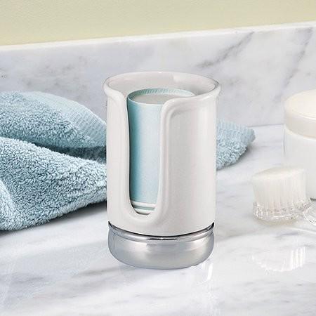 InterDesign York Disposable Cup Dispenser, White/Chrome