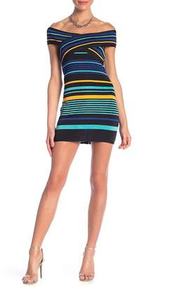 Wow Couture Striped Bandage Short Sleeve Dress