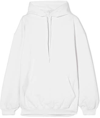 Balenciaga Oversized Printed Cotton-terry Hooded Top - White