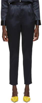 Mansur Gavriel Blue Linen High-Waisted Trousers