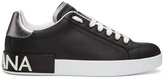 Dolce & Gabbana Black and Silver Portofino Logo Sneakers