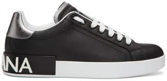 Dolce & Gabbana Black and Silver Portofino Logo Sneakers