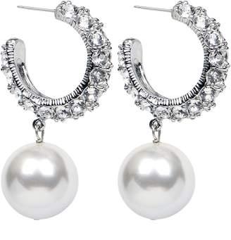 Ben-Amun Crystal & Imitation Pearl Hoop Earrings