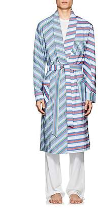 Barneys New York Men's Striped Cotton Poplin Robe