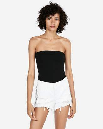 Express Low Rise White Side Stripe Relaxed Denim Shortie