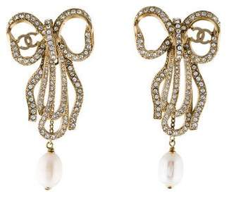 Chanel CC Faux Pearl Crystal Bow Earrings