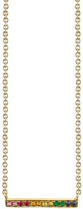 Sydney Evan Yellow Gold Rainbow Bar Necklace