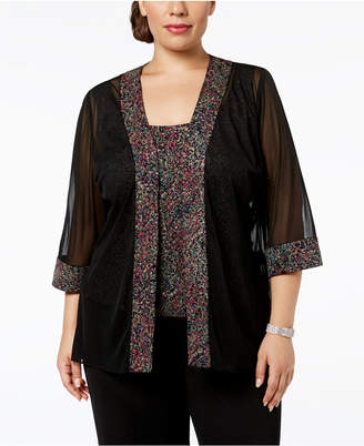 Alex Evenings Plus-Size Printed Sparkle-Embellished Jacket & Shell