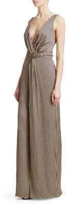 Jonathan Simkhai Striped Twist V-Neck Jumpsuit