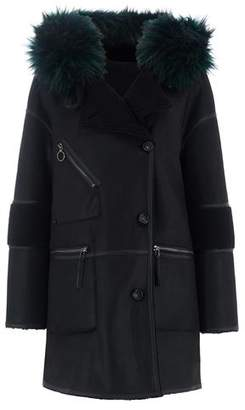Urban Code Urbancode Azza Faux Fur Reversible Hooded Duffle Coat in Black