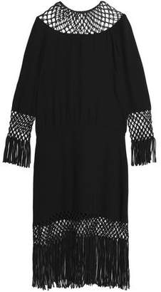 Valentino Fringe-Trimmed Open Knit-Paneled Silk Midi Dress