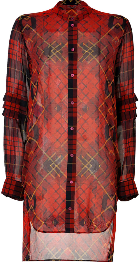 McQ Silk Plaid Shirtdress in Oxblood