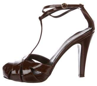 Fendi Patent Leather T-Strap Sandals