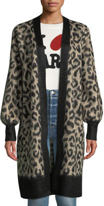 Marled By Reunited Jacquard Leopard Long Cardigan