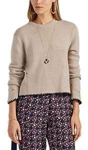 Raquel Allegra Women's Contrast-Trimmed Cashmere Crewneck Sweater - White