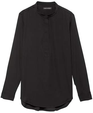 Banana Republic Parker Tunic-Fit Washable Stretch Silk Popover Shirt