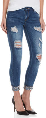 Bebe Embellished Distressed Skinny Jeans