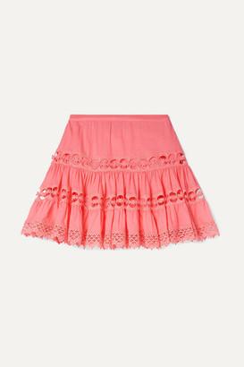 Charo Ruiz Kids - Greta Lace-trimmed Cotton-blend Skirt - Coral