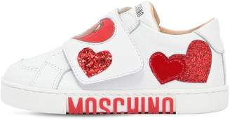 Moschino Heart Bear Nappa Leather Strap Sneakers