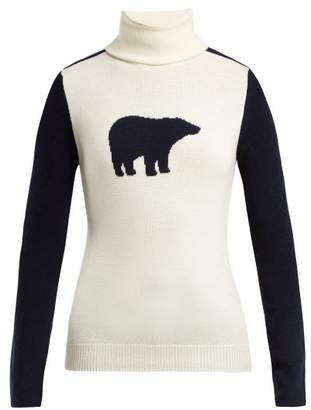 Perfect Moment - Bear Roll Neck Wool Sweater - Womens - Navy White