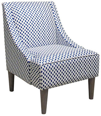 One Kings Lane Quinn Swoop-Arm Accent Chair - Navy Dots