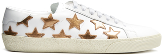 SAINT LAURENT Court Classic star-applique leather trainers $595 thestylecure.com