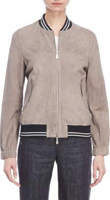Peserico Leather Zip Bomber Jacket