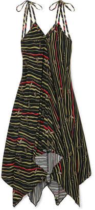 Loewe + Paula's Ibiza Asymmetric Printed Crepe Dress - Black