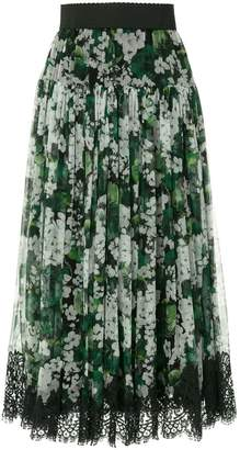 Dolce & Gabbana white geranium printed pleated skirt