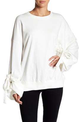 Love + Harmony Oversized Crew Neck Pull Over Sweater With Tie Detailed Cuffs